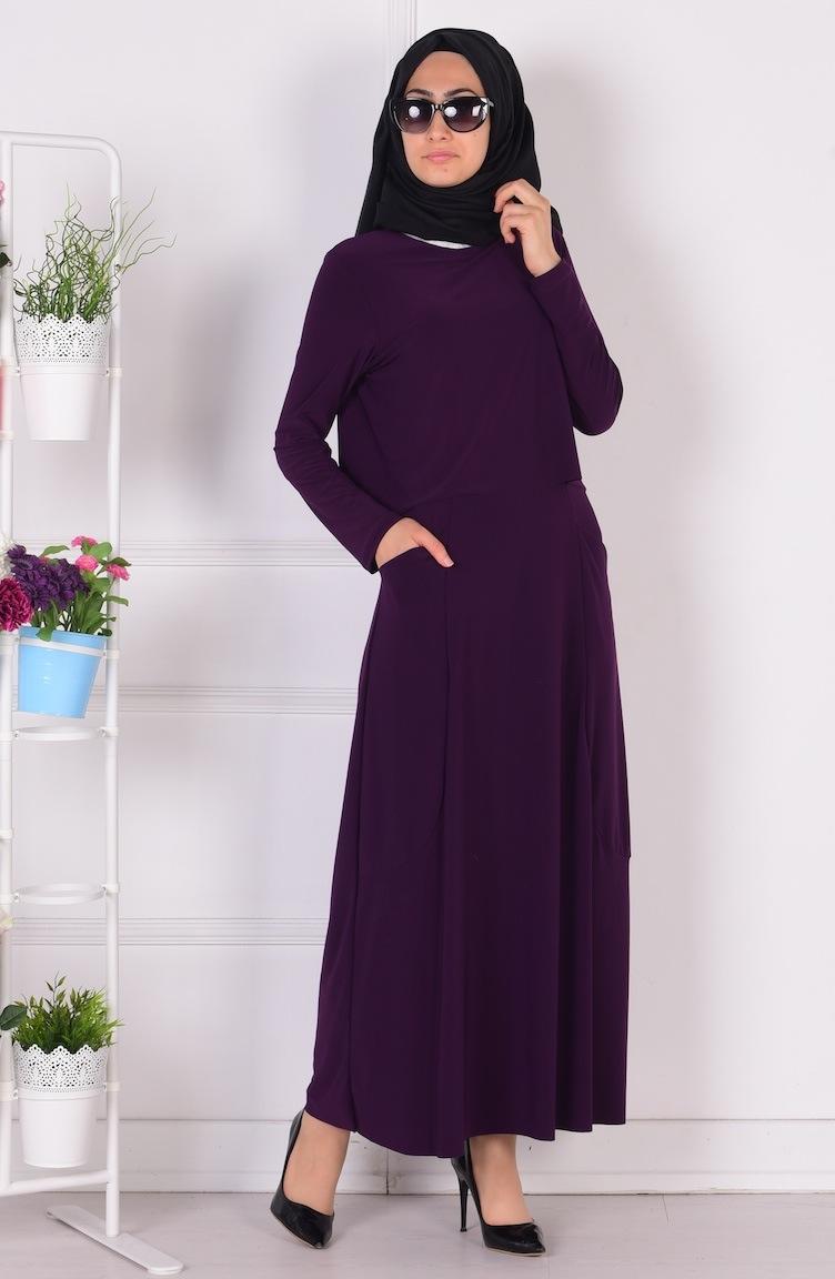 üstü pelerinli cepli sandy elbise 1808-08 mor