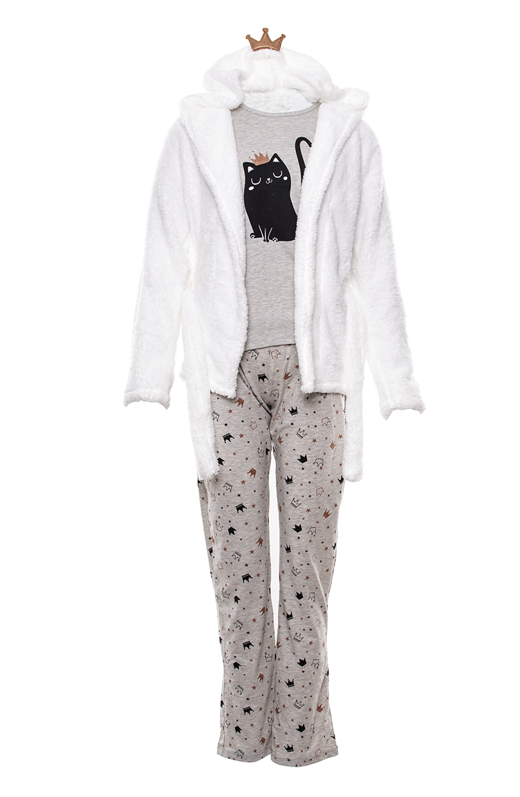 Printed Women´s 3 Pcs Pajamas Suit MLB2006-01 Gray 2006-01