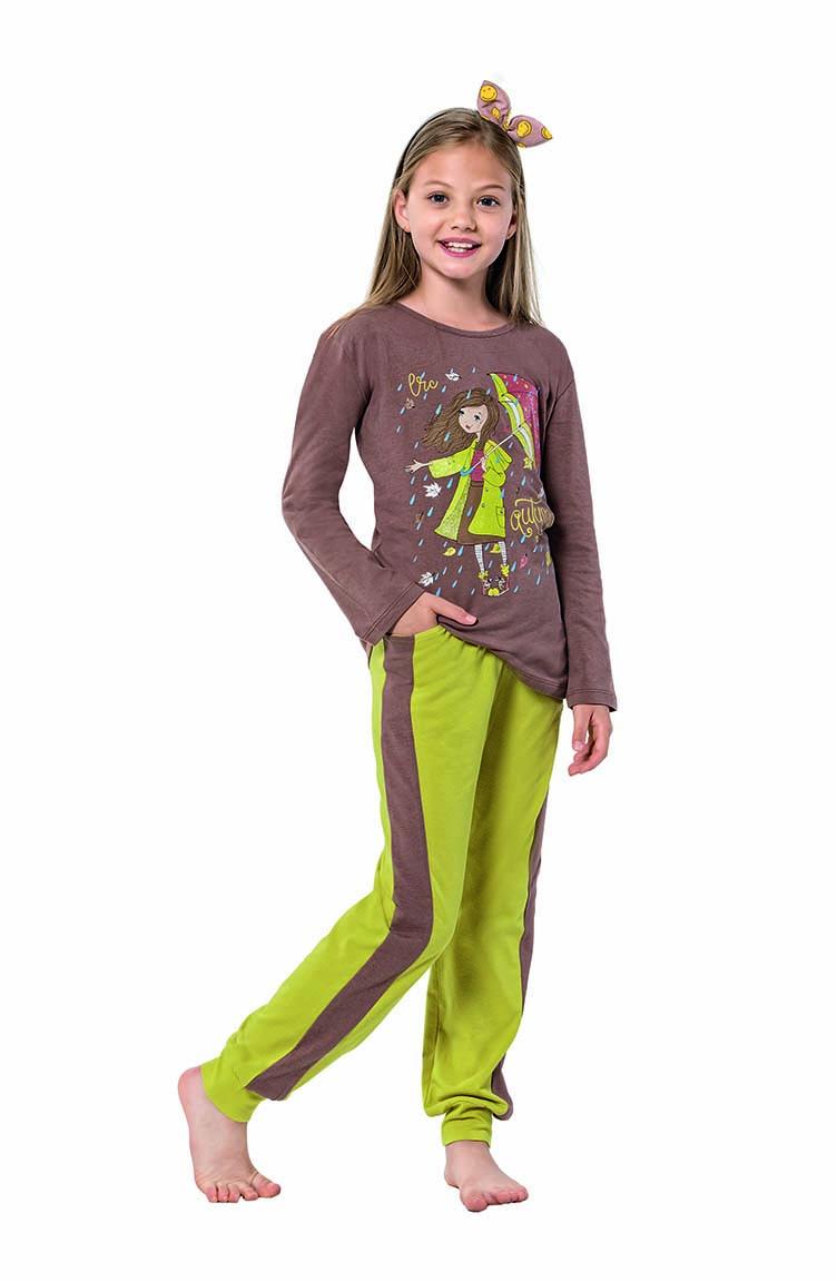 Sefamerve Kız Çocuk Uzun Kol Pijama Takımı 6117 Kahverengi Fıstık Yeşili