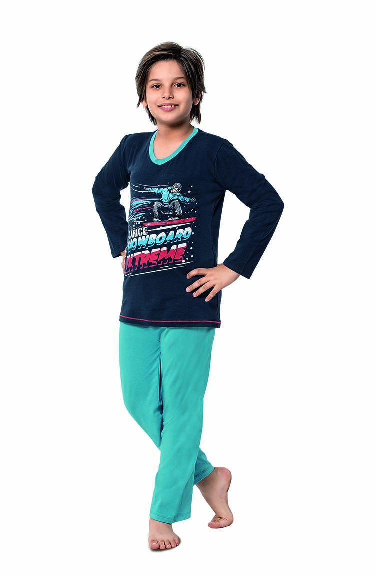 Sefamerve Erkek Çocuk Uzun Kol Pijama Takımı 5120 Lacivert