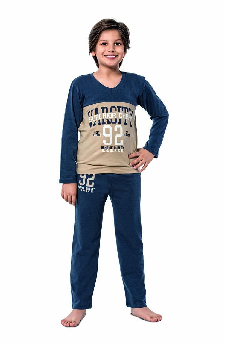 Sefamerve Erkek Çocuk Uzun Kol Pijama Takımı 5124 Lacivert Bej