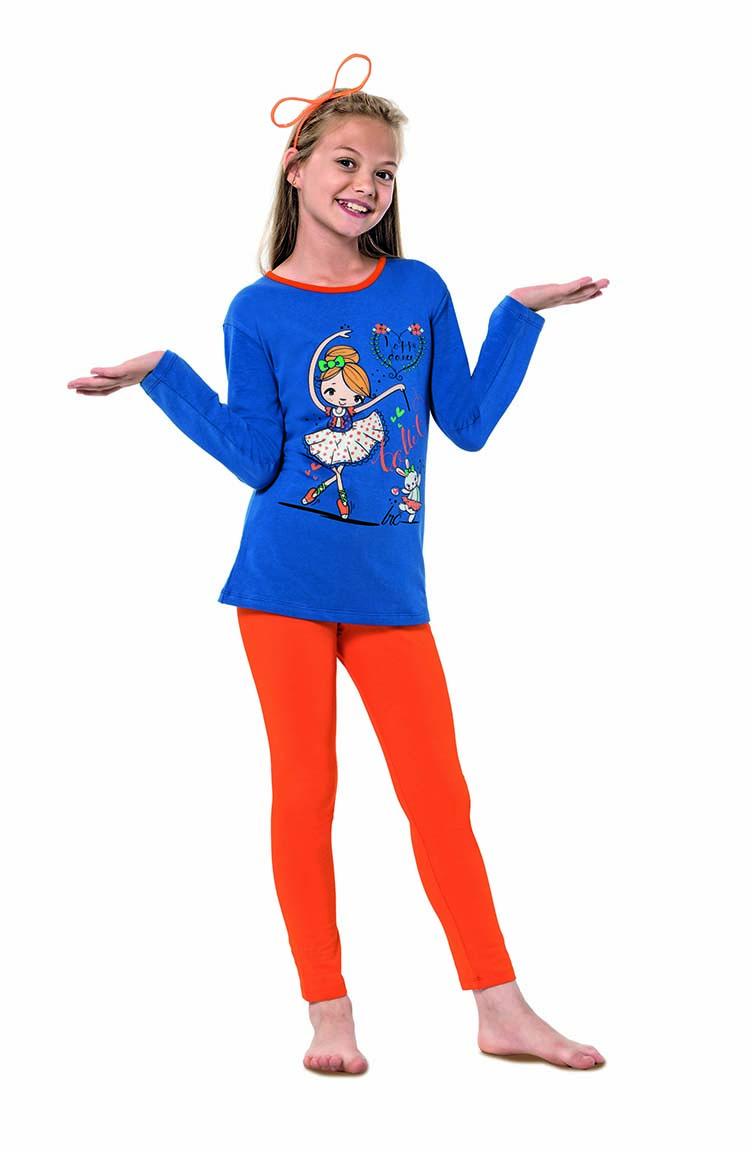 Sefamerve Kız Çocuk Uzun Kol Pijama Takımı 6110 Saks Turuncu