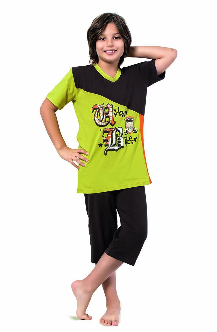 Sefamerve Erkek Çocuk Kapri Pijama Takımı 3269 Acı Kahve Safran