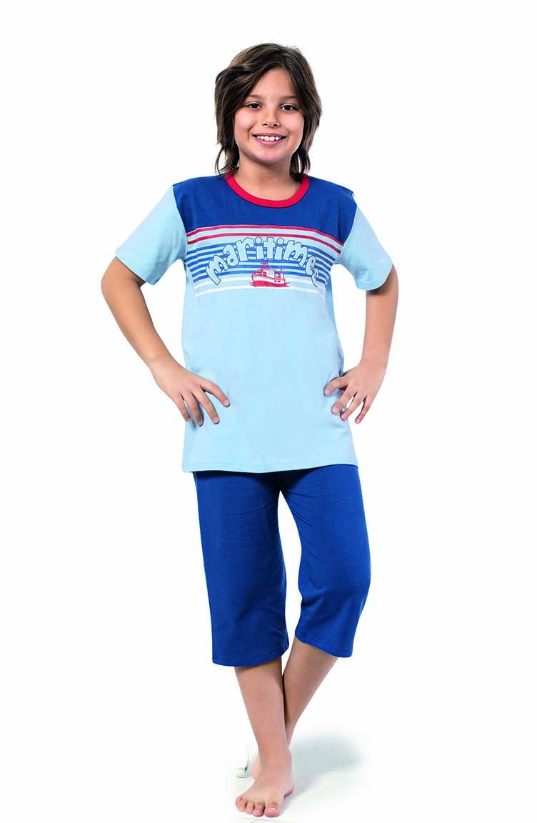 Sefamerve Erkek Çocuk Kapri Pijama Takımı 3274 Bebe Mavi