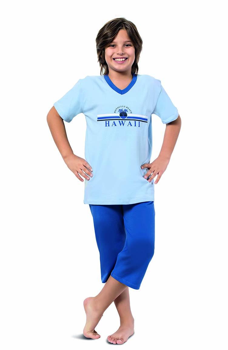 Sefamerve Erkek Çocuk Kapri Pijama Takımı 3288 Bebe Mavi