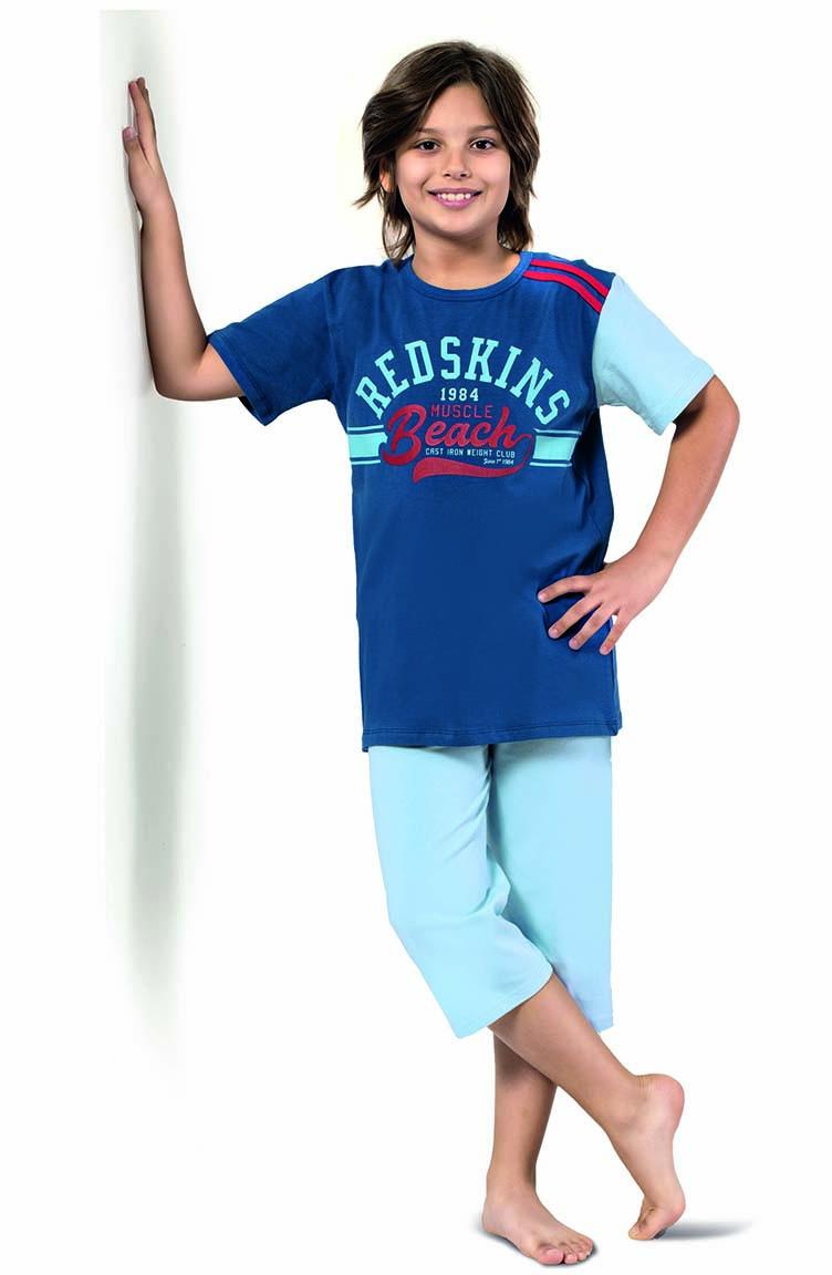 Sefamerve Erkek Çocuk Kapri Pijama Takımı 3296 Saks
