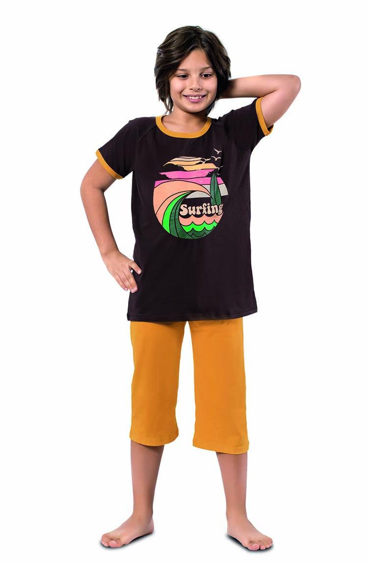Sefamerve Erkek Çocuk Kapri Pijama Takımı 3298 Kahverengi Hardal