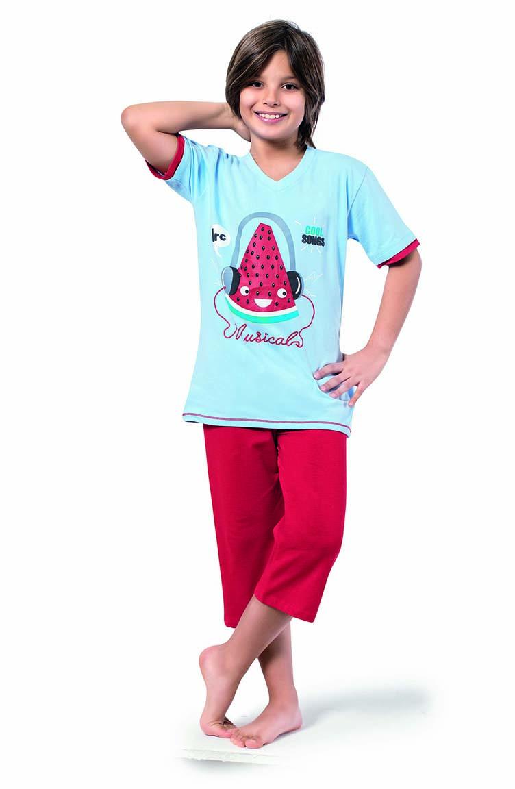 Sefamerve Erkek Çocuk Kapri Pijama Takımı 3300 Bebe Mavi