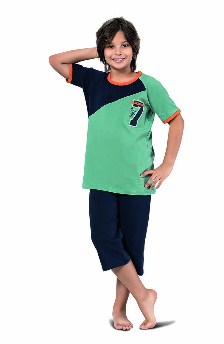 Sefamerve Erkek Çocuk Kapri Pijama Takımı 3301 Çağla Yeşili