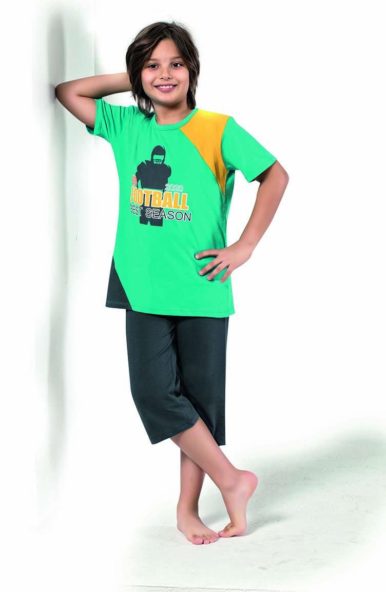 Sefamerve Erkek Çocuk Kapri Pijama Takımı 3302 Turkuaz