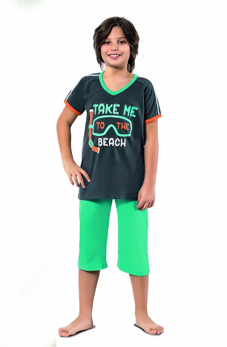 Sefamerve Erkek Çocuk Kapri Pijama Takımı 3304 Antrasit