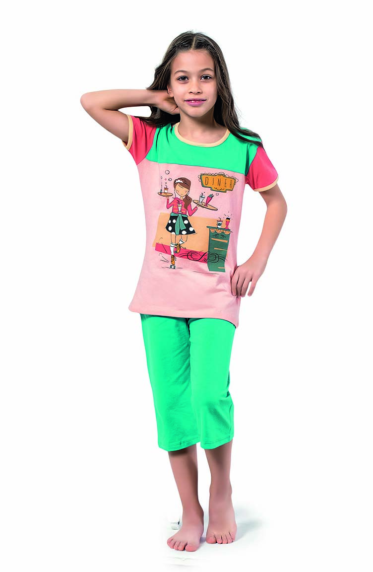 Sefamerve Kız Çocuk Kapri Pijama Takımı 4311 Pudra Turkuaz