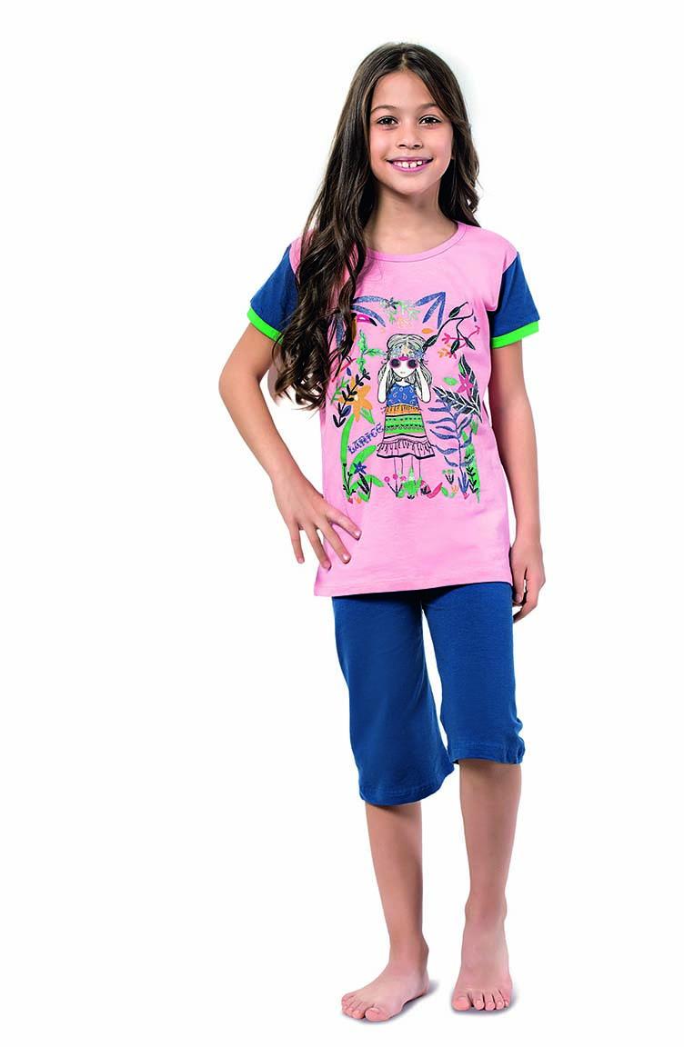 Sefamerve Kız Çocuk Kapri PijamaTakımı 4313 Pembe