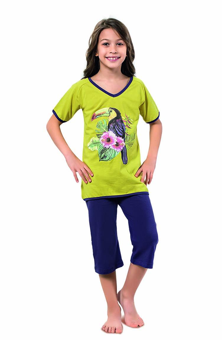 Sefamerve Kız Çocuk Kapri Pijama Takımı 4318 Fıstık Yeşili Lacivert
