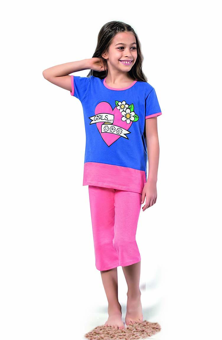 Sefamerve Kız Çocuk Kapri Pijama Takımı 4322 Saks Pembe