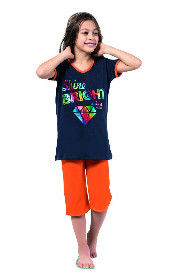 Sefamerve Kız Çocuk Kapri Pijama Takımı 4325 Lacivert