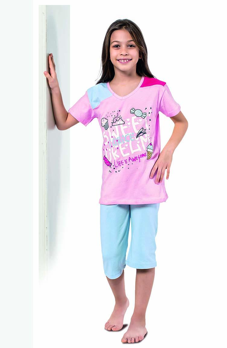 Sefamerve Kız Çocuk Kapri Pijama Takımı 4329 Toz Pembe