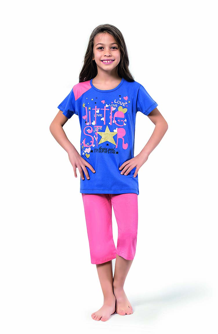 Sefamerve Kız Çocuk Kapri Pijama Takımı 4332 Saks Pembe