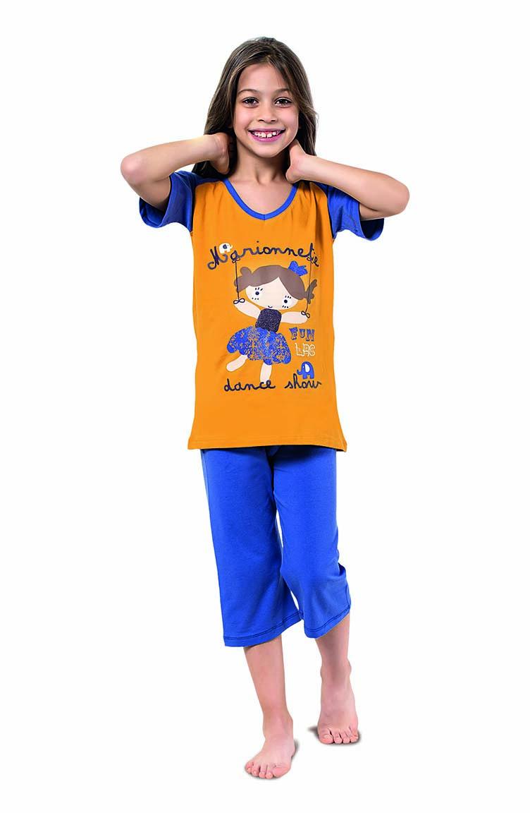 Sefamerve Kız Çocuk Kapri Pijama Takımı 4334 Hardal Saks