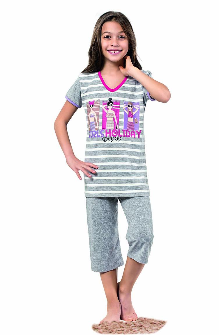 Sefamerve Kız Çocuk Kapri Pijama Takımı 4335 Gri Melanj