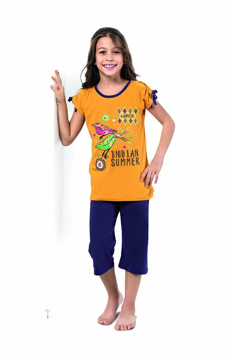 Sefamerve Kız Çocuk Kapri Piajama Takımı 4336 Hardal