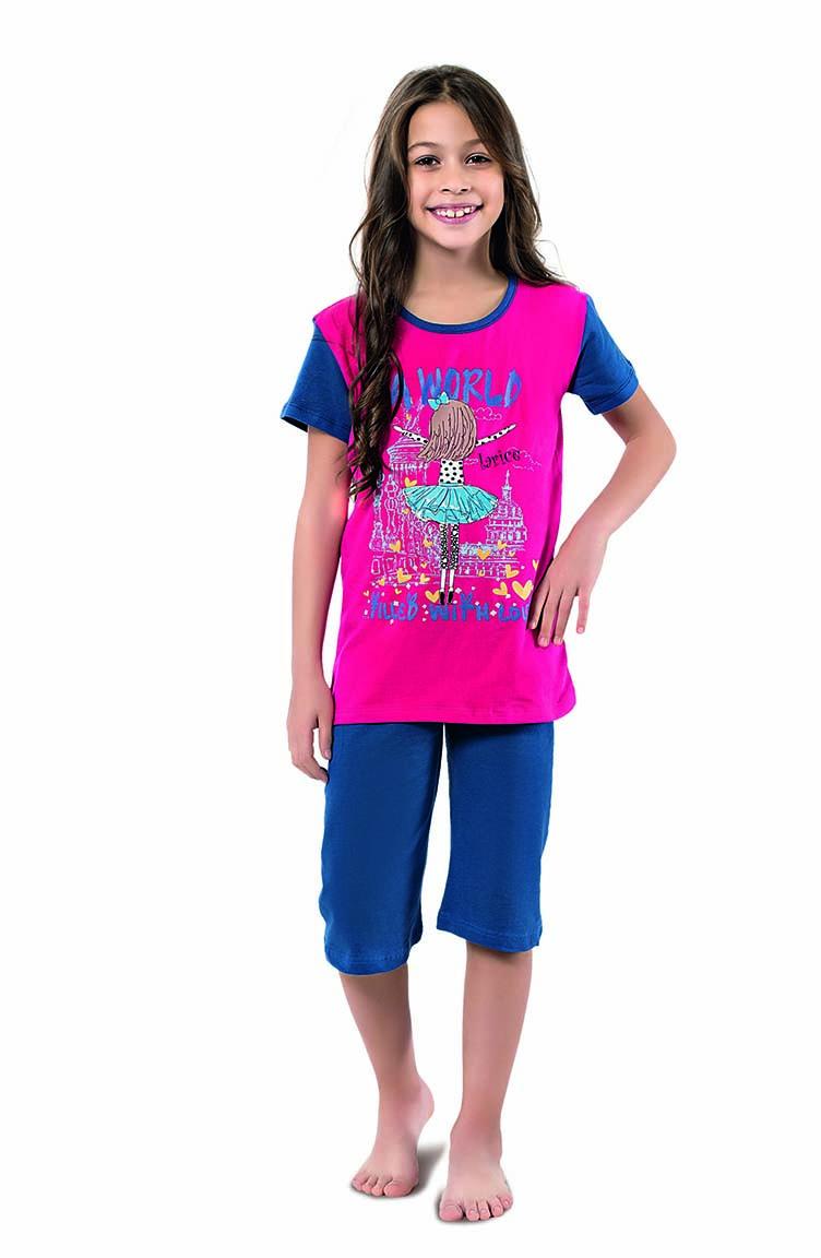 Sefamerve Kız Çocuk Kapri Pijama Takımı 4338 Fuşya