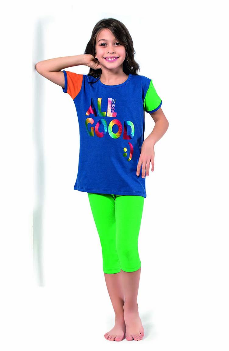 Sefamerve Kız Çocuk Kapri Pijama Takımı 4340 Saks Yeşil