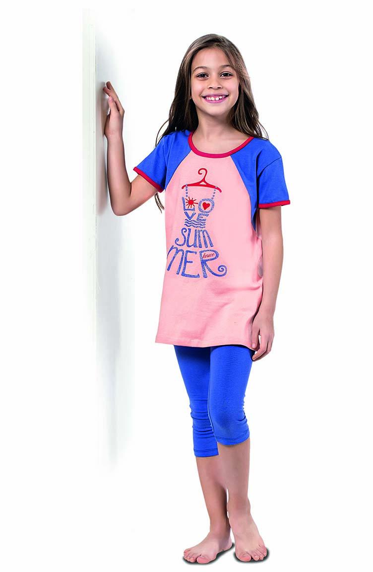 Sefamerve Kız Çocuk Kapri Pijama Takımı 4342 Somon