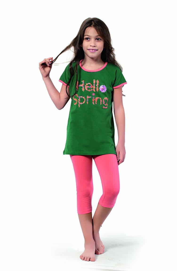 Sefamerve Kız Çocuk Kapri Pijama Takımı 4350 Kına Yeşili Somon