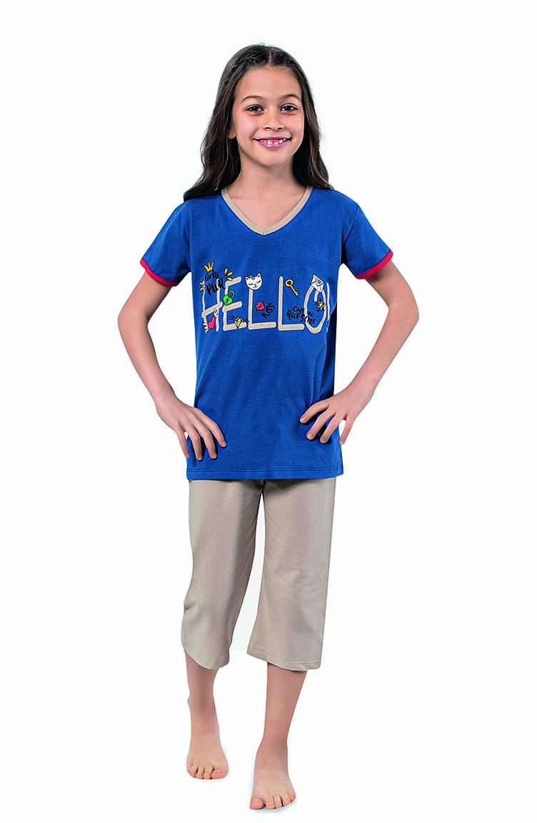 Sefamerve Kız Çocuk Kapri Pijama Takımı 4321 Saks