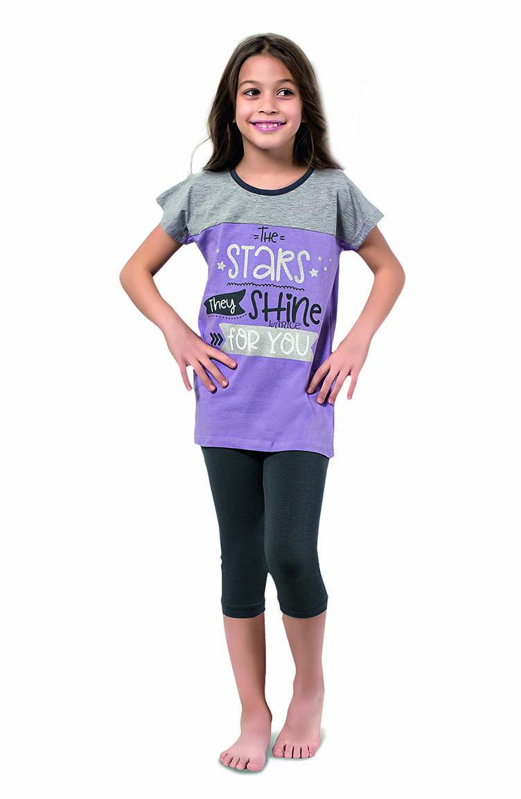 Sefamerve Kız Çocuk Kapri Pijama Takımı 4344 Lila