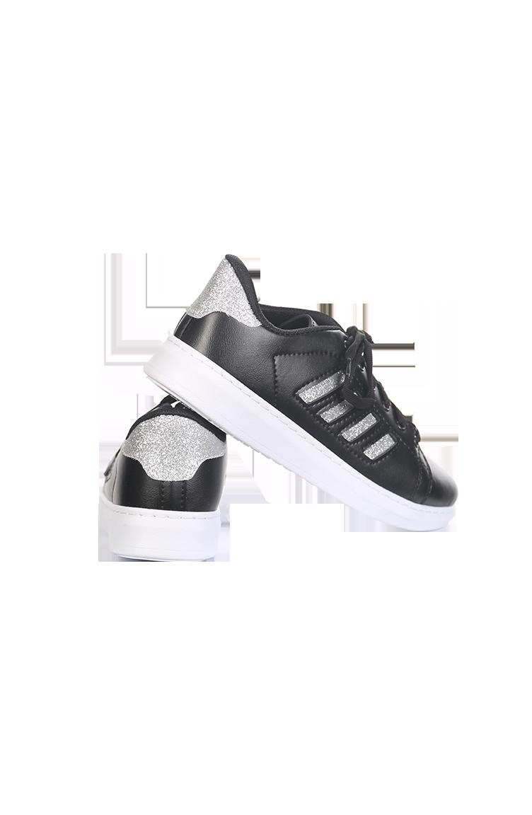 Kadın Bayan Spor Ayakkabı 30050-03 Siyah Gümüş