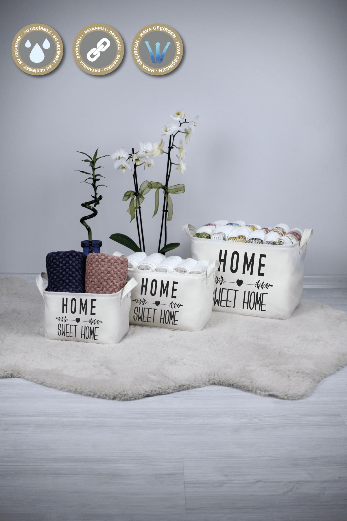 Rope Home Beyaz Home Sweet Home Dikdörtgen Sepet 15x25x18 47-01 Beyaz 47-01