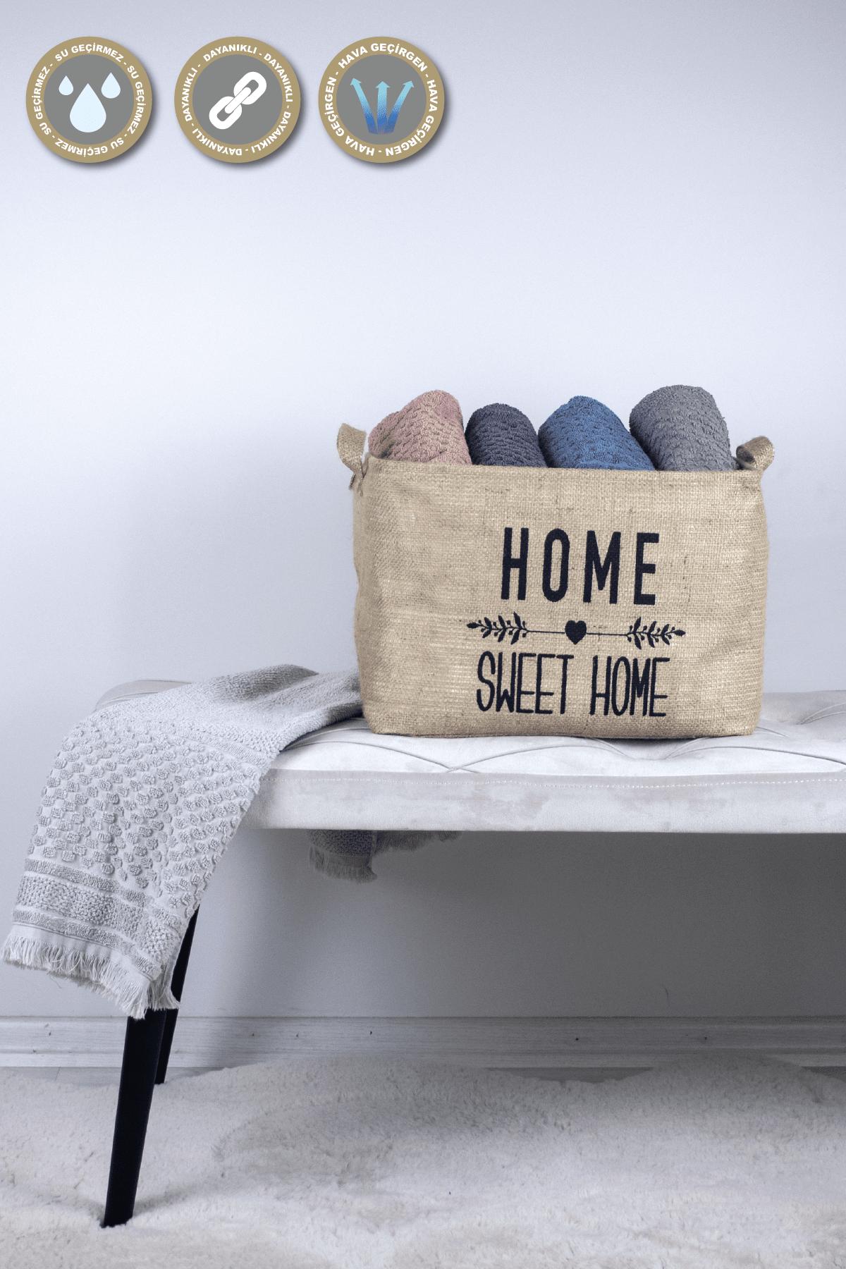 Rope Home Jüt Dikdörtgen Home Sweet Home Baskili Sepet 27x37x25 44-01 Bej 44-01