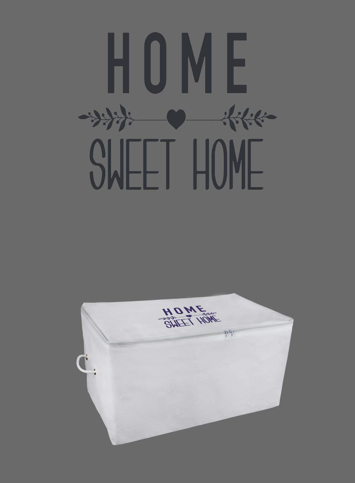 ROPE HOME Orta Boy Home Sweet Home Lila Renk Baskılı Hurç 52x28x31 72-01 Beyaz 72-01