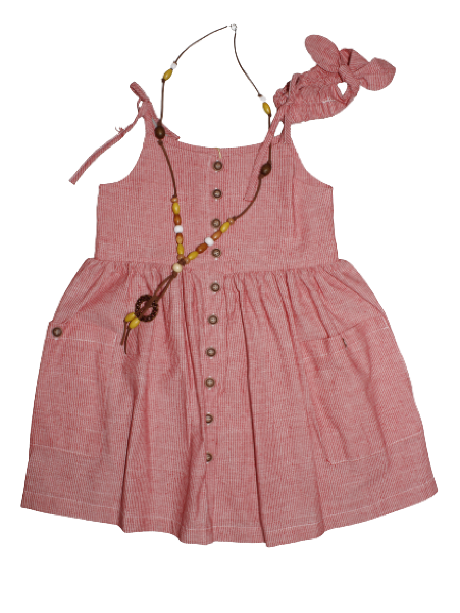 Kız Çocuk Yazlık Saç Bantlı Kolyeli Keten Elbise 5040-03 Kırmızı