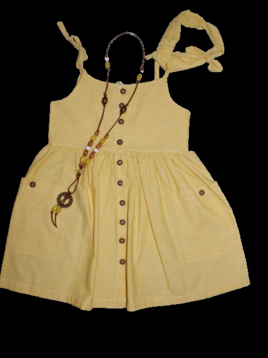 Kız Çocuk Yazlık Saç Bantlı Kolyeli Keten Elbise 5040-05 Sarı 5040-05