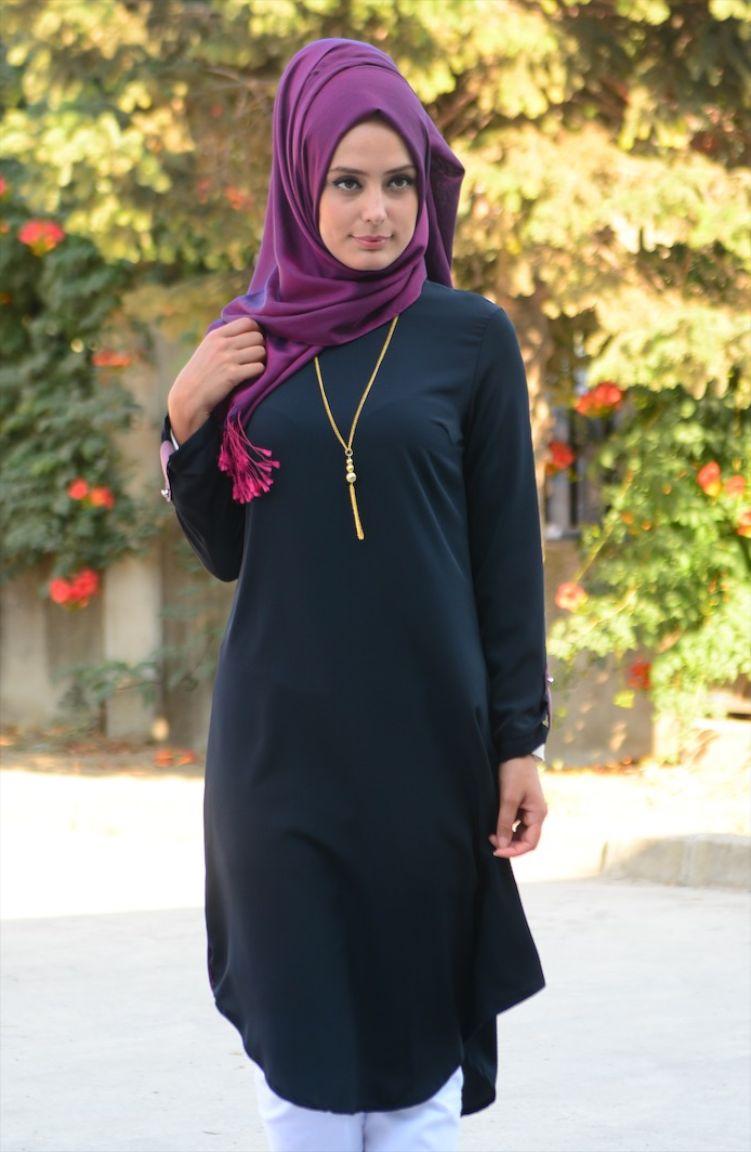 Tesettür Giyim W.B Collection Büyük Beden Tesettür Tunik WB 4751-03 Siyah