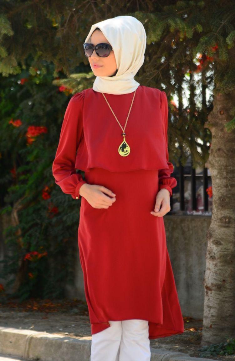 Tesettür Elbise Fy Collection Tesettür Tunik FY 82248-07 Kiremit