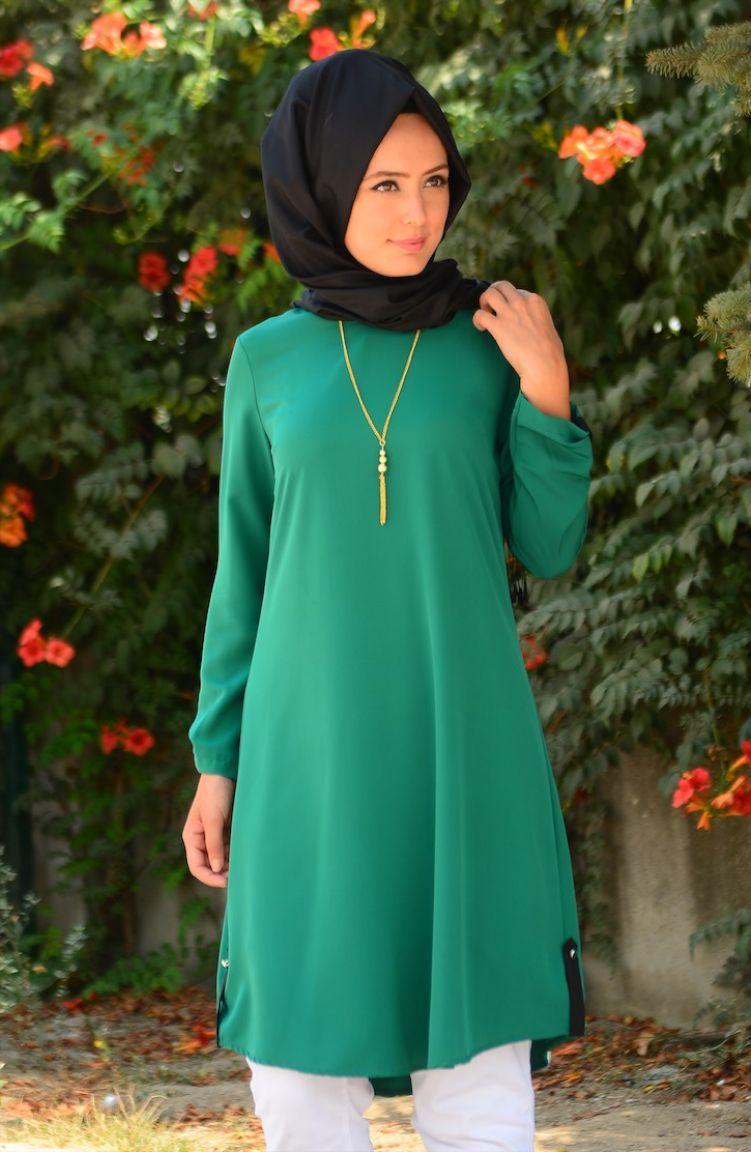 Tesettür Giyim W.B Collection Büyük Beden Tesettür Tunik WB 4751-06 Zümrüt Yeşil