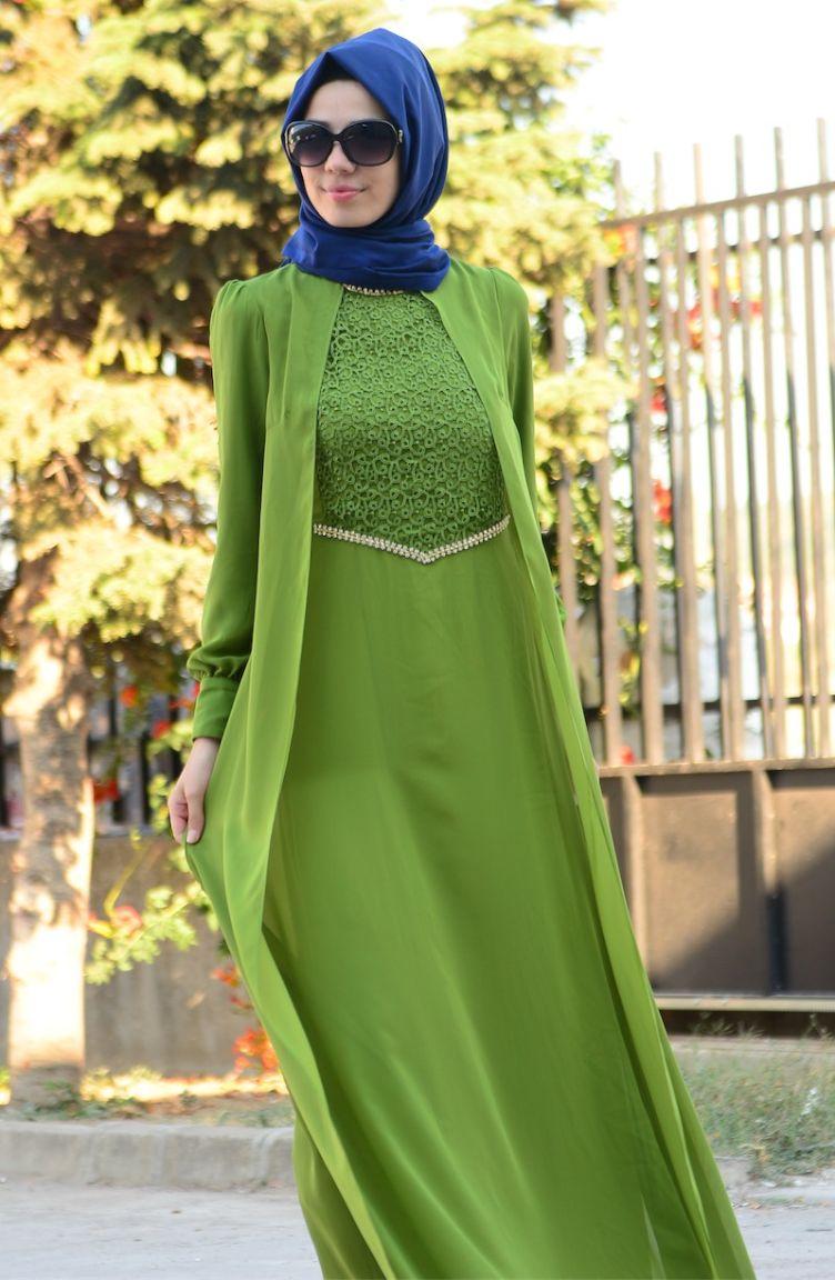Tesettür Elbise Fy Collection Tesettür Elbise FY 52264-07 Fıstık Yeşil