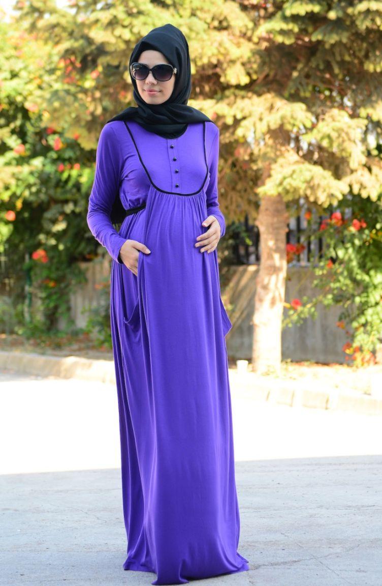 Tesettür Hamile Kıyafetleri Tesettür Hamile Elbise 4054-04 Mor