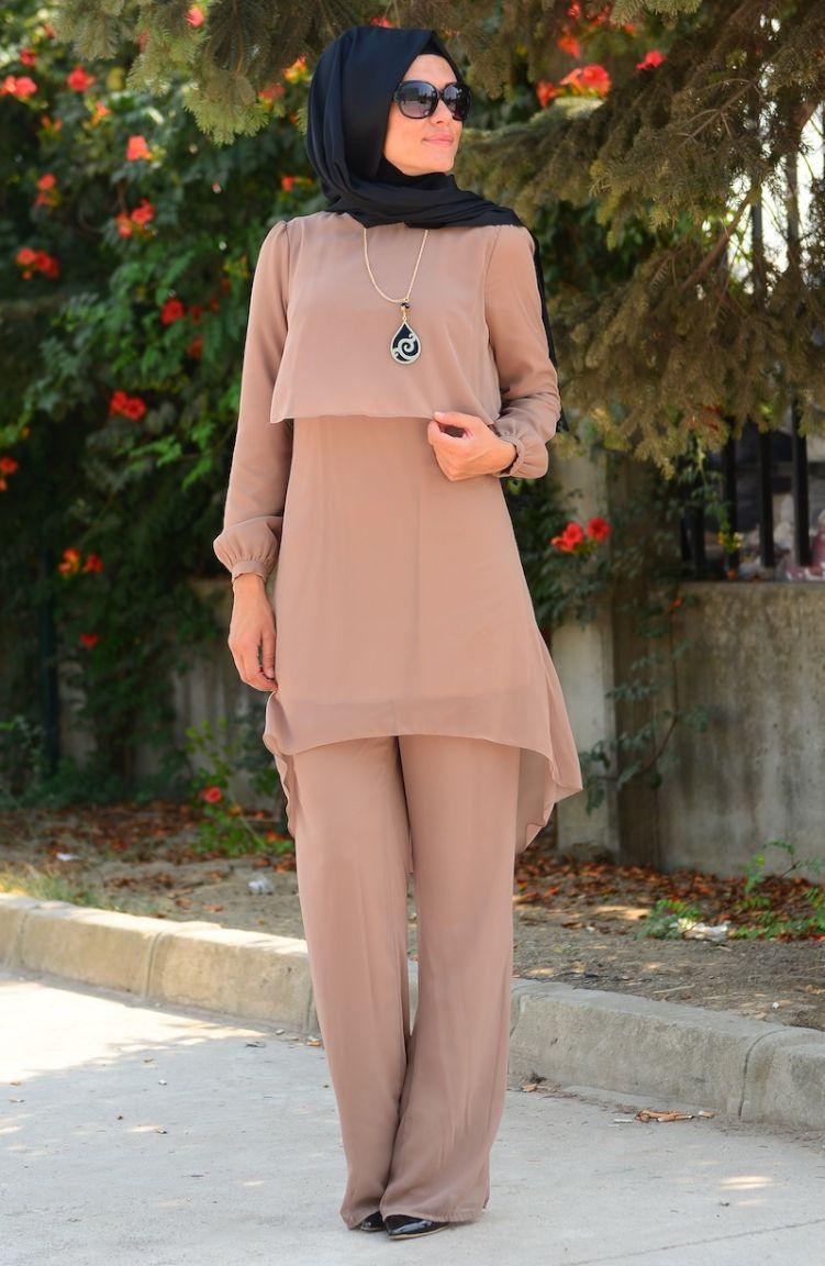 Tesettür Elbise Fy Collection Tunik Pantolon Takım FY 62288-06 Vizon