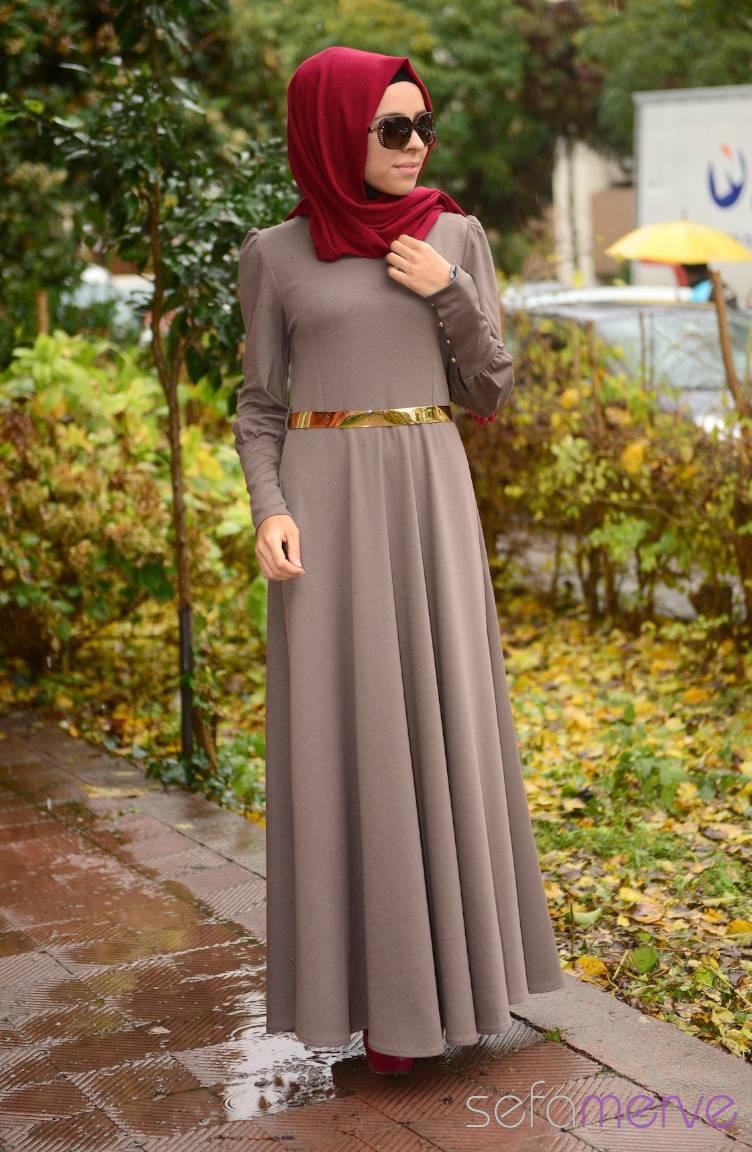 Şükran Elbiseler Yeni Sezon Şükran Elbise 4137J-02 Vizon