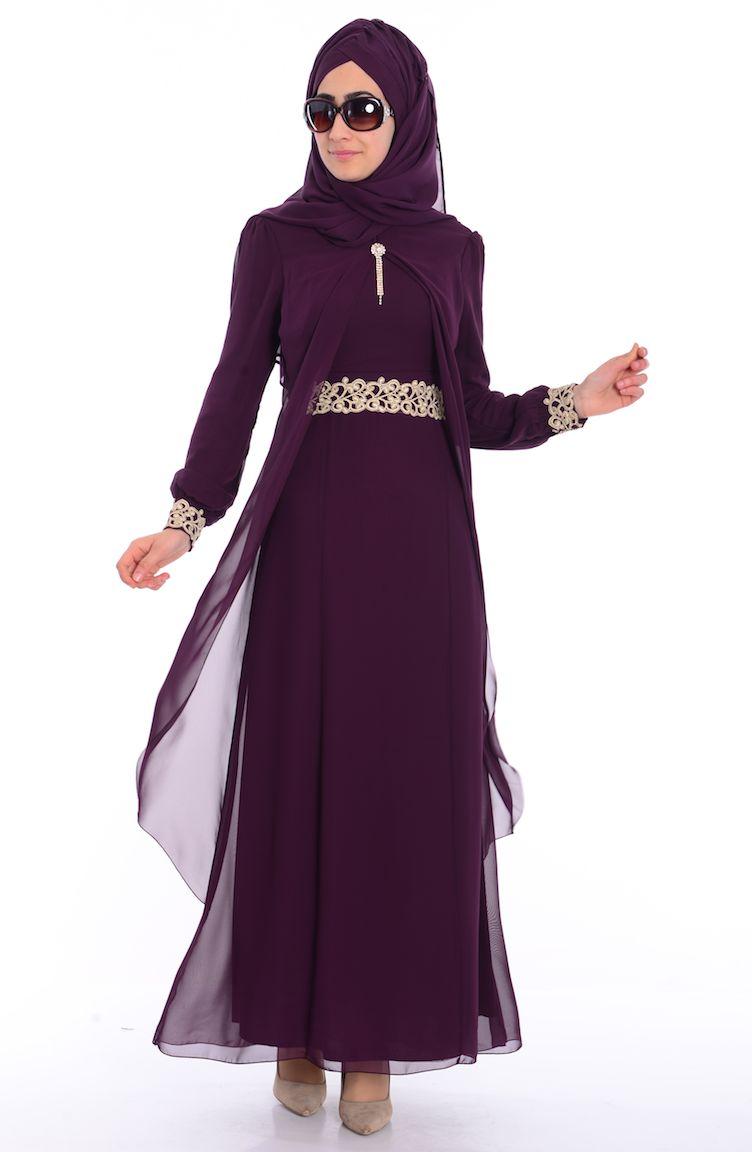 Sefamerve Abiye Modelleri Tesettür Elbise FY 52221-02 Mürdüm