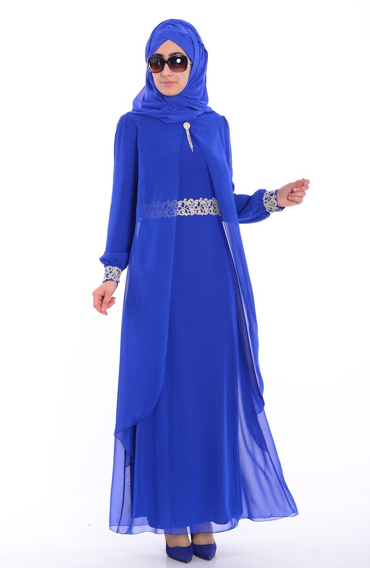 Sefamerve Abiye Modelleri Tesettür Elbise FY 52221-04 Saks