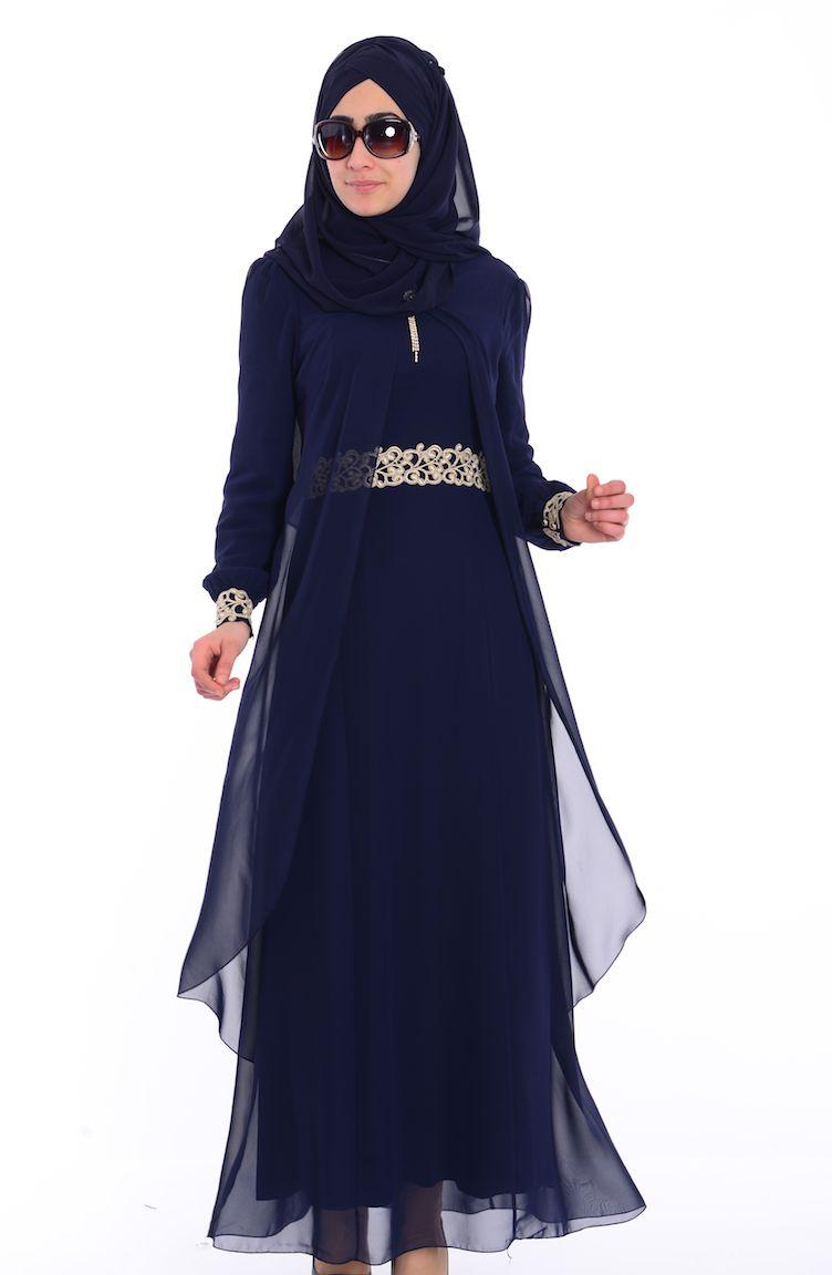 Sefamerve Abiye Modelleri Tesettür Elbise FY 52221-05 Lacivert