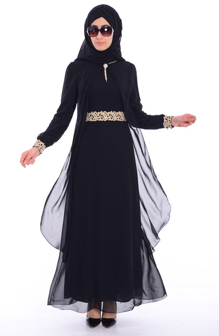 Sefamerve Abiye Modelleri Tesettür Elbise FY 52221-06 Siyah