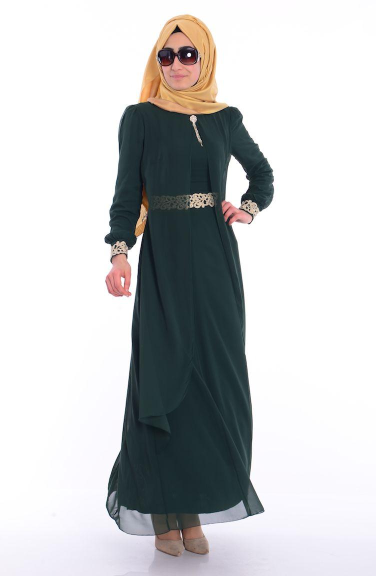 Sefamerve Abiye Modelleri Tesettür Elbise FY 52221-07 Yeşil