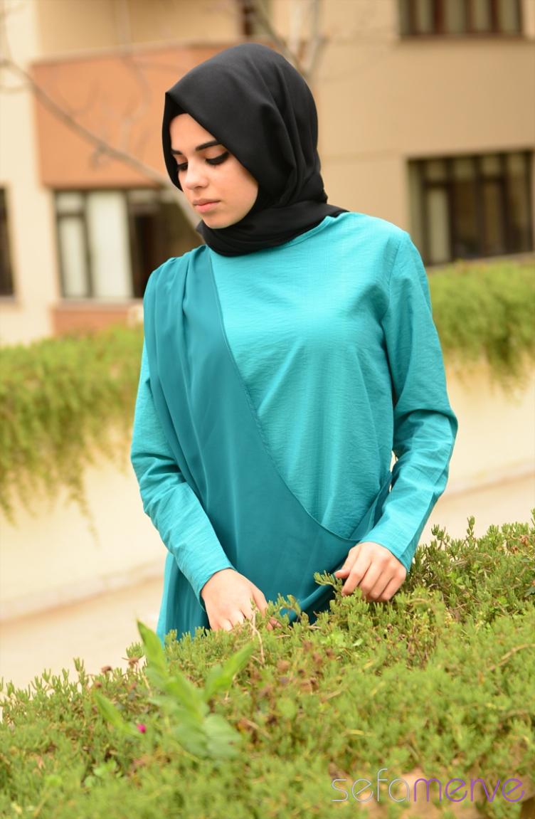 Tesettür Giyim Aybikestil Kombinler Aybikestil Tunik 44330-03 Yeşil